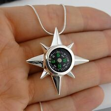 North Star Real Working Compass Necklace - 925 Sterling Silver Pendant Direction