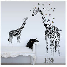 Giraffe Butterfly Black Wall Decor Art Vinyl Sticker Mural Decal for Home Decor