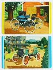 PAIR SWAP CARDS. ANTIQUE MOTOR CARS. EARLY AUTOMOBILES 1890s-1900s. ARRCO USA