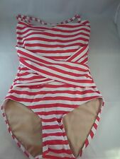 NWT Downeast Down for a Dip 1pc Red/White Stripe Swimsuit Sz S