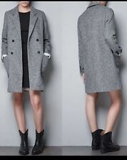 NEW ZARA GRAY DOUBLE BREASTED ¾ LENGTH COAT SIZE LARGE