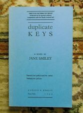 1984 JANE SMILEY - SIGNED Rare PROOF COPY of her 3rd Book DUPLICATE KEYS 1st Ed.