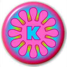 Small 25mm Lapel Pin Button Badge Novelty Letter Initial K - Flower
