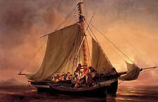 Oil painting Niels Simonsen - arab pirate attack figures on sail boat seascape
