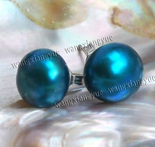 Rare Big 11-12mm Blue Akoya Cultured Pearl Silver Stud Earrings AAA