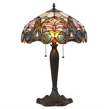 """Tiffany Style Stained Glass Victorian 2 Light Table Lamp 16"""" Shade Handcrafted"""