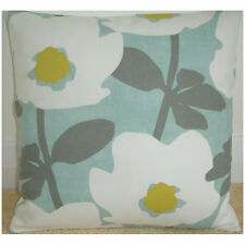 "14"" Retro Modern Cushion Cover Saffron Yellow Grey Duck Egg Ivory Retro Flowers"