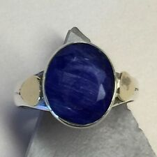 Beautiful 6ct Blue Sapphire 925 Solid Sterling Silver Solitaire Ring sz 9