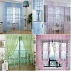 5 Colors Door Window Floral Curtain Drape Panel Voile Valances Scarf Sheer 2Mx1M