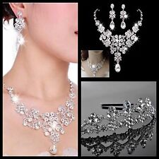 Wedding Jewellery Bridal Necklace Earring Tiara Rhinestone Silver Plated set