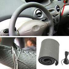 Hot Cool Gray PU  Leather DIY Car Steering Wheel Cover With Needles and Thread