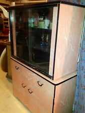Vintage 50s Pink Black & White Formica Dining,Table.Chairs,Cabinet