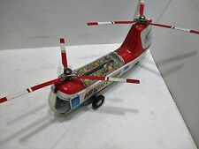 FLTING BUS HELICOPTER WITH MOVING STEWADESS GOOD COND ALL TIN MADE IN JAPAN