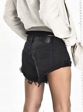 NWT Free People One Teaspoon Bandits Jean Shorts Size 24 Black