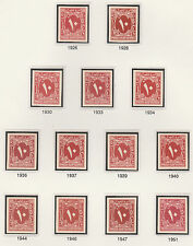 Egypt 2398 - 1927 Postage Due 10m x 13 IMPERF SINGLES from different printings