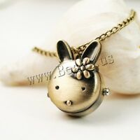 Fashion Cute Rabbit Pendant Chain Necklace Pocket Watch Gift for Girls Women