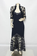 DESIGNER Navy Blue Wool Blend Formal Floral Dress w/ Lace Bolero sz L NWT