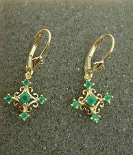 14K Yellow Gold Filigree Dangle EMERALD Earrings