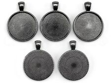 """5 Pack - 1"""" Round Pendant Trays - Gunmetal (Dark Silver) Color - 25mm 1 inch"""