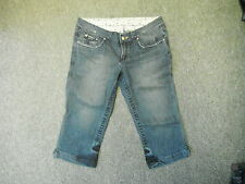 "Moto Denim Shorts Jeans Size 14 Leg 28"" Faded Dark Blue Ladies Denim Shorts."