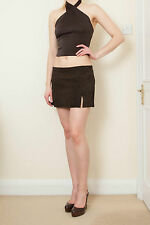 DOLCE GABBANA TIMELESS MINI SKIRT SUEDE BROWN SIZE 10 UK 8 US 42 IT RRP $1350