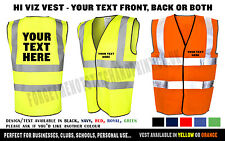 Personalised Hi Viz Safety Vest Waistcoat Customised High Visibility Reflective