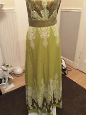 Monsoon Persia Green/sequin Maxi Strapy Dress Size 8 Ex