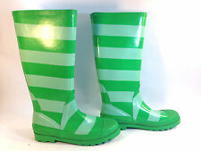 sublime J CREW kelly green striped rubber rainboots 9