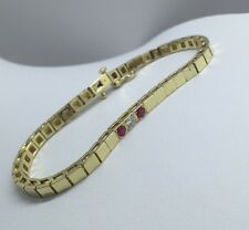 "Estate CN 14k Yellow Gold Diamond and Ruby 7"" Ladies Bracelet Box Link EUC 18g"