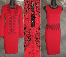 NWT $2875 STUUNING St John evening 2pc knit red jacket dress suit size 4 NEW