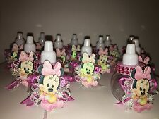 12 Pink Minnie Mouse Plastic Fillable Bottles Baby Shower Favors Girl Decoration