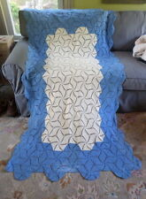 Coverlet Hand Crochet Cotton Throw Blanket Bedspread Afghan Blue Butter Yellow