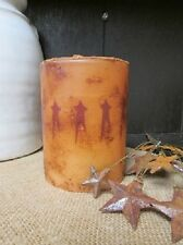 """Primitive LED TIMER Pillar Candle - Grungy - 4"""" x 3"""" Wide - Dark RED STARS"""
