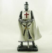 "Crusader Knight Medieval Figure 7"" High White Costume Red Cross Statue Figurine"