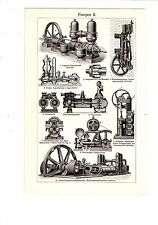ca 1890 Technical Machinery OLD WATER PUMPS Antique Engraving Print