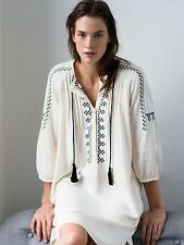 ZARA CREAM ETHNIC EMBROIDERED TUNIC DRESS SIZE M - BNWT