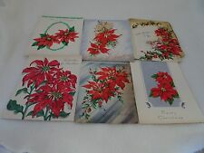 6 VTG. CHRISTMAS CARD LOT 1940'S-50'S-FRONT AND INSIDE ONLY-POINSETTIAS-