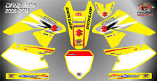suzuki drz125 decals graphics laminated stickers motocross mx 125 yellow 08 -14
