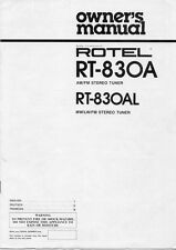 Rotel RT-830A Tuner Owners Manual