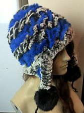 blue black grey real genuine rabbit fur knitted pom pom hat head warmer unisex