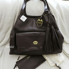 NWT COACH LEGACY Chocolate Brown LEATHER AMERICAN ICON XL TOTE HAND BAG+WRISTLET