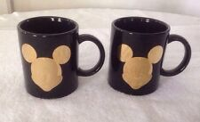 *Set of 2* Disney Mickey Mouse Mugs Black with Gold Face