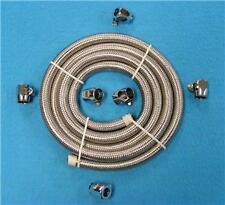 """6 X 5/16"""" CLAMPS  HOT ROD  BRAIDED FUEL/OIL LINE HOSE -FUEL YOUR HARLEY"""