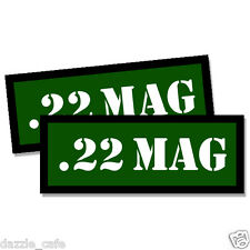 22 MAG Ammo Can Stickers 2x Ammunition Gun Case Labels  GREEN Decals 2 pack