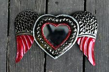 Small Winged Heart Mirror, Mexican Tin Milagros - Stamped Tin & All Hand Made!