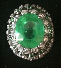 Estate Natural Emerald  Doublet 6.40CT Ring,925 Silver  Jewelry.Size 6.25