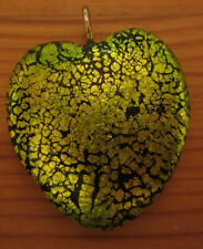 Handmade polymer clay heart pendant, metallic green cracked foil pattern