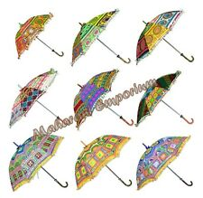 10 Pcs Traditional Indian small Umbrellas or Parasol wholesale lot Embroidered