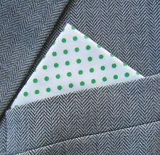 SUPERNOVA White & Green Polka Dot Cotton Pocket Handkerchief Scooter Mod Suit