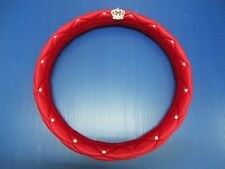 "15""38cm Red Plush Style Luxury Crystal With Crown Badge Car Steering Wheel Cover"